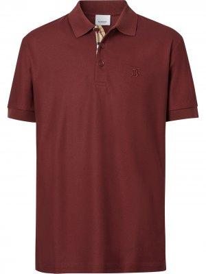 Рубашка поло с вышитой монограммой Burberry. Цвет: красный