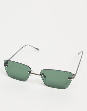 Квадратные солнцезащитные очки в стиле ретро без оправы с зелеными линзами -Черный ASOS DESIGN
