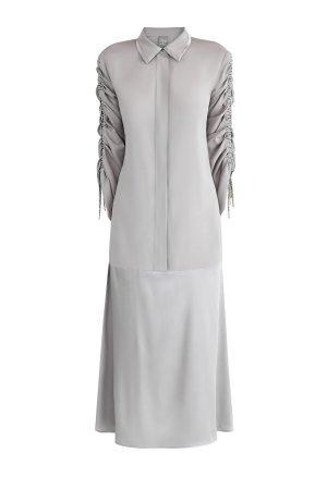 Платье-рубашка из двух видов шелка с кристаллами на подвесках LORENA ANTONIAZZI. Цвет: серый