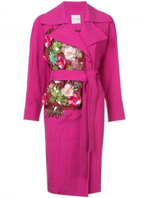Пальто с аппликациями из цветов и поясом Emanuel Ungaro. Цвет: розовый и фиолетовый