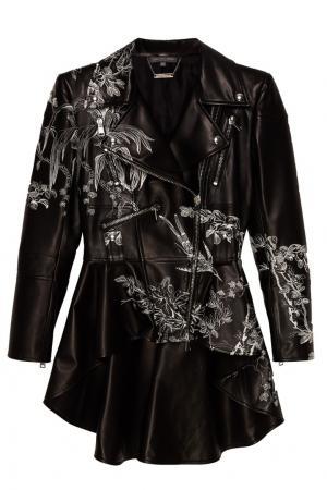 Кожаная куртка с цветочной вышивкой Alexander McQueen. Цвет: черный