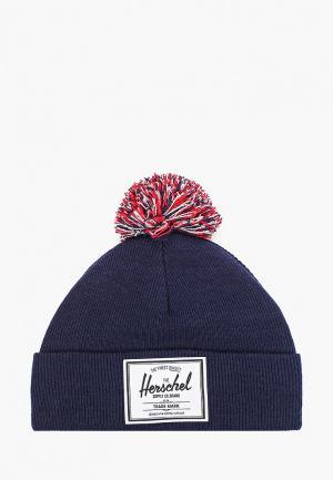 Шапка Herschel Supply Co Abbott Youth Pom. Цвет: синий