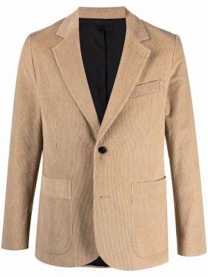 Однобортный вельветовый пиджак AMI Paris. Цвет: нейтральные цвета