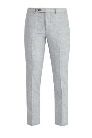 Классические брюки из шерстяной ткани с меланжевым эффектом BRUNELLO CUCINELLI. Цвет: серый