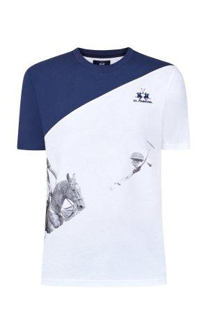 Хлопковая футболка в стиле colorblock c принтом и вышитым логотипом LA MARTINA. Цвет: мульти
