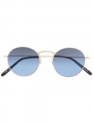 Солнцезащитные очки Weslie в круглой оправе Oliver Peoples. Цвет: золотистый