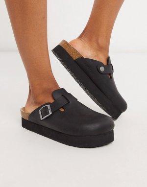 Черные кожаные сабо на платформе -Черный Genuins