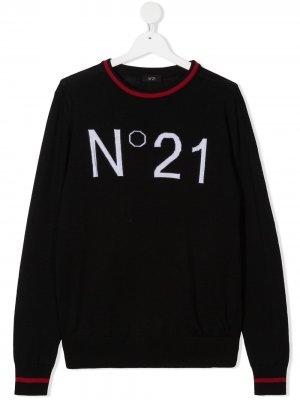 Джемпер в рубчик с логотипом вязки интарсия Nº21 Kids. Цвет: черный