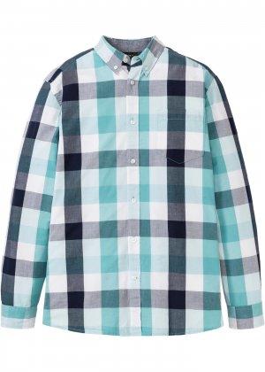 Рубашка с длинным рукавом bonprix. Цвет: зеленый
