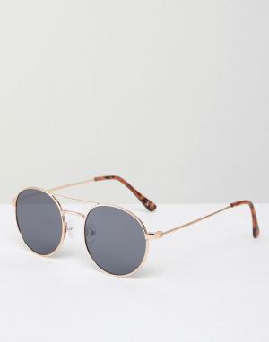 Круглые солнцезащитные очки в золотистой оправе -Золотой Jeepers Peepers