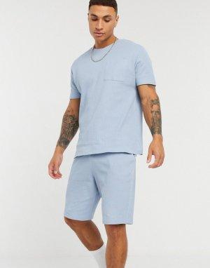 Шорты и футболка для дома из вафельного трикотажа -Синий ASOS DESIGN