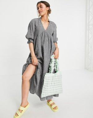 Платье миди в мелкую клетку с присборенной юбкой и V-образным вырезом -Многоцветный ASOS DESIGN