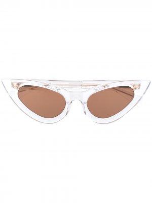 Солнцезащитные очки в оправе кошачий глаз Kuboraum. Цвет: белый