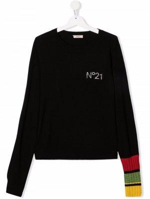 Джемпер с логотипом из страз Nº21 Kids. Цвет: черный