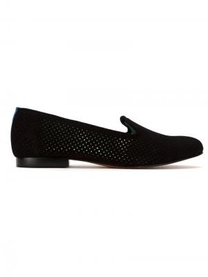 Perforated suede loafers Blue Bird Shoes. Цвет: черный