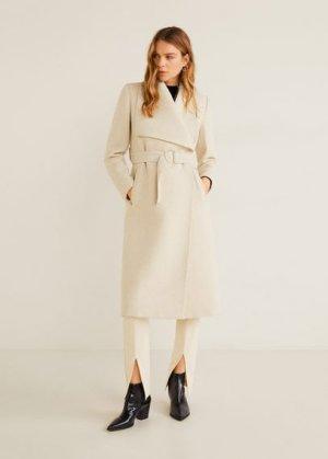 Пальто с большими лацканами, шерстью - Barto Mango. Цвет: песочный