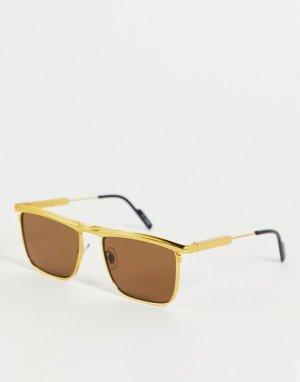 Квадратные солнцезащитные очки в стиле унисекс с коричневыми линзами золотистой оправе PK90-Золотистый Spitfire