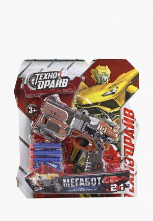 Игрушечное оружие Технодрайв Трансформирующийся робот, 2 в 1: робот + бластер, 4 мягкие пули комплекте.. Цвет: разноцветный