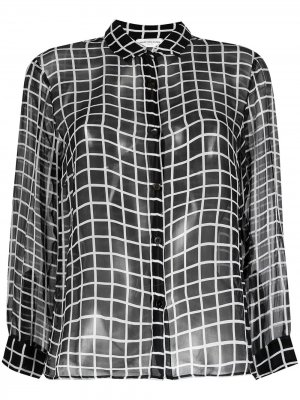 Прозрачная рубашка 1990-х годов в клетку Dries Van Noten Pre-Owned. Цвет: черный