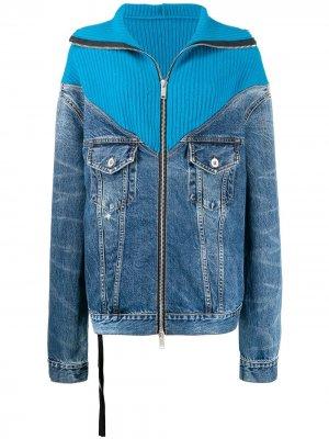 Джинсовая куртка со вставками в рубчик UNRAVEL PROJECT. Цвет: синий