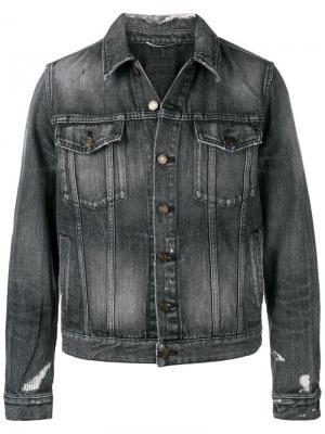 Джинсовая куртка с рваными деталями Saint Laurent. Цвет: серый