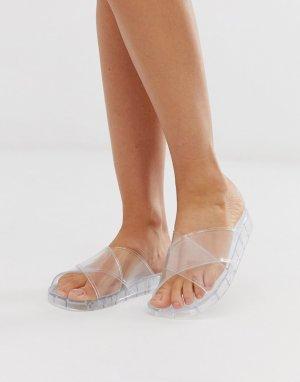 Прозрачные сандалии ASOS DESIGN. Цвет: очистить