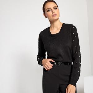 Пуловер с круглым вырезом, оригинальной отделкой бисером и длинными рукавами ANNE WEYBURN. Цвет: черный