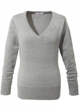 Пуловер тонкой вязки с V-образным вырезом горловины bonprix. Цвет: серый