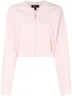 Велюровый укороченный жакет Juicy Couture. Цвет: розовый