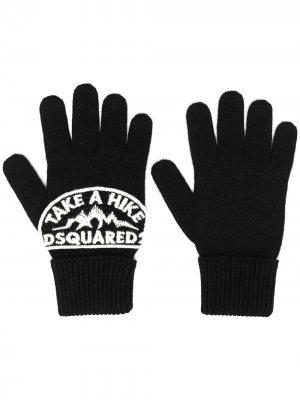 Перчатки с нашивкой-логотипом Dsquared2. Цвет: черный