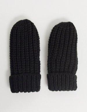 Вязаные варежки -Черный Ichi