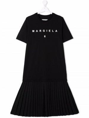 TEEN pleated hem T-shirt dress MM6 KIDS. Цвет: черный