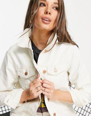 Джинсовая куртка цвета экрю Bloom-Белый Brave Soul