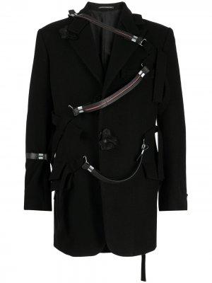 Пиджак с декоративными ремешками Yohji Yamamoto. Цвет: черный