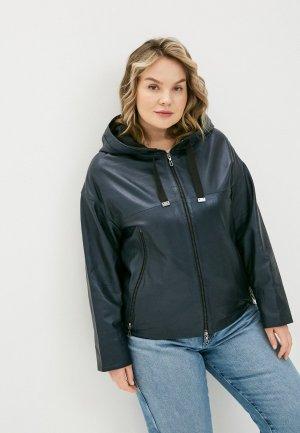 Куртка кожаная Le Monique. Цвет: синий