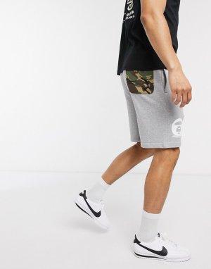 Серые трикотажные шорты с камуфляжным карманом AAPE By A Bathing Ape-Серый APE®