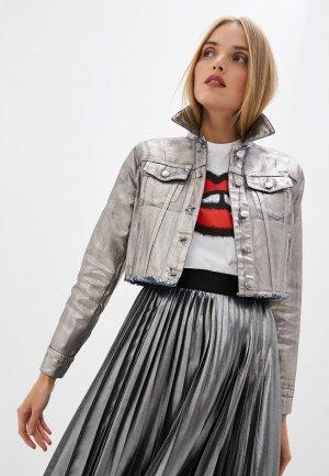 Куртка джинсовая Sportmax Code. Цвет: серебряный