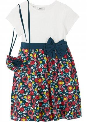 Платье трикотажное + сумка (2 изд.) bonprix. Цвет: белый