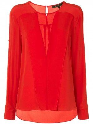 Блузка с длинными рукавами и прозрачными вставками BCBG Max Azria. Цвет: красный