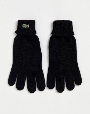 Черные трикотажные перчатки с логотипом -Черный Lacoste