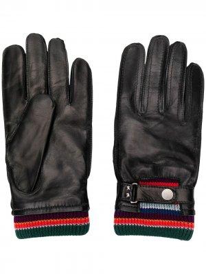 Перчатки с отделкой в полоску PAUL SMITH. Цвет: черный