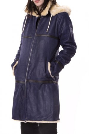 Sheepskin coat Isaco & Kawa. Цвет: blue