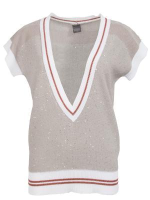 Хлопковый пуловер Lorena Antoniazzi. Цвет: разноцветный
