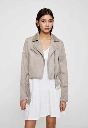 Куртка кожаная Pull&Bear. Цвет: серый