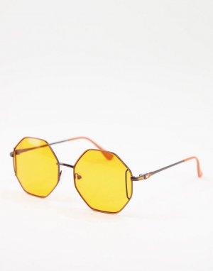 Женские квадратные солнцезащитные очки с оранжевыми линзами -Черный Jeepers Peepers