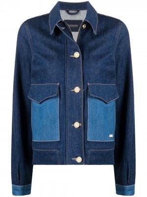 Двухцветная джинсовая куртка Scotch & Soda. Цвет: синий