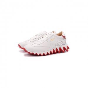 Кожаные кроссовки Loubishark Donna Christian Louboutin. Цвет: кремовый