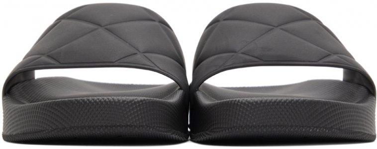 Black Flat Pool Slides Bottega Veneta. Цвет: 1000 black