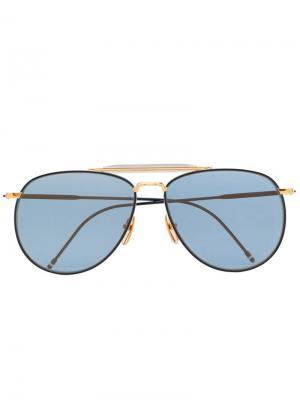 Солнцезащитные очки-авиаторы 907 Thom Browne Eyewear. Цвет: золотистый