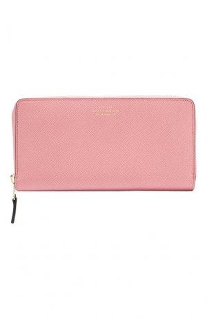 Кожаный кошелек Smythson. Цвет: розовый